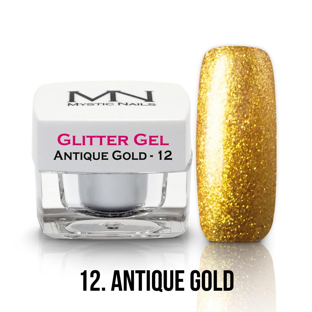 Glitter gél - No.12 - Antique Gold - Antické Zlato
